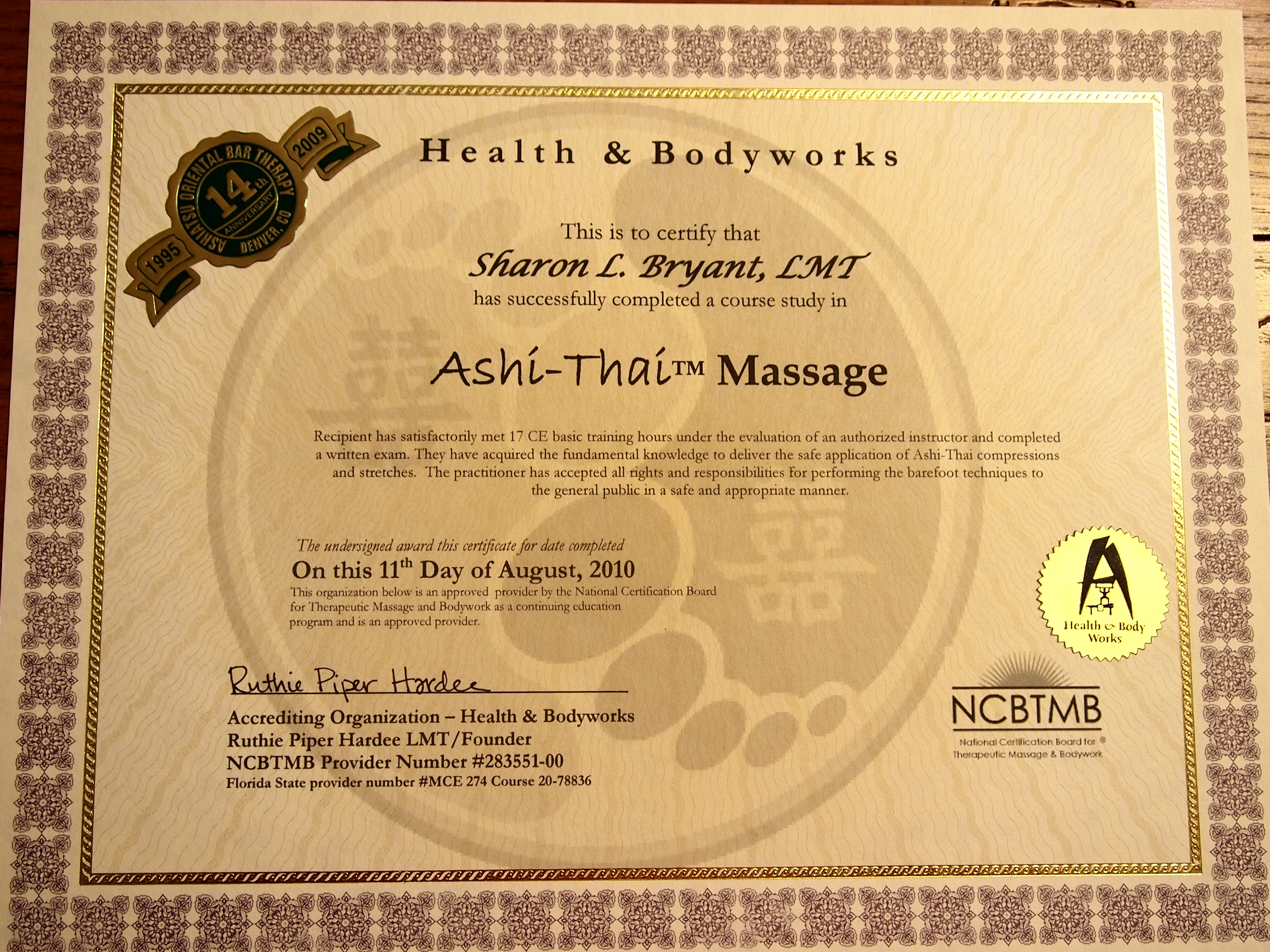 Ashi-Thai Certificate | Harvest Moon Massage Therapy and Reflexology